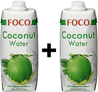 Foco Coconut Water, Pure, 100% Coconut Water Tetra, paquete de 2 (2 x 500 ml)