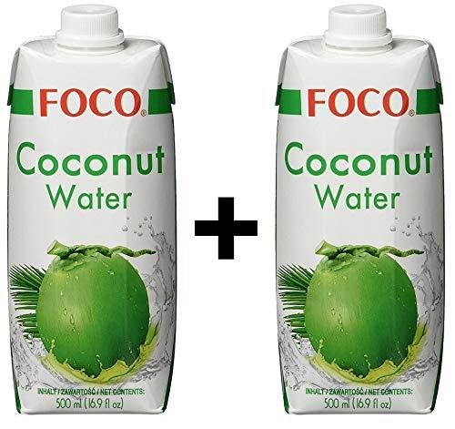 FOCO Kokosnusswasser, exotisches Trendgetränk, erfrischender Durstlöscher, Sportgetränk, kalorienarm, 100 % vegan 2 x 500 ml