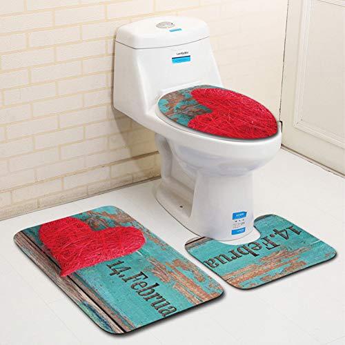 YCTZMTD Toilettenmatte Badematte 3 Teiliges Set Serie Badteppichmatte Und Toilettensitz Toilettensitz Toilettendeckel