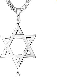Reizteko Jewish Jewelry Megan Star of David Pendant Necklace Women Men Chain Stainless Steel Israel Necklace (Silver)