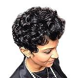 自然スタイル パーマ感じ パーティー 女性用 巻き髪 短い縮毛 フルウィッグ コスプレ ブラック