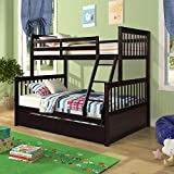 Bunk Bed, Harper&Bright Designs Solid Wood Twin Over Full Size Beds Frame with 2 Storage Drawers, Easy Access Ladder, Safety Guard Rail for Kids Toddlers Boys Girls Bedroom, Guest Room (Espresso)
