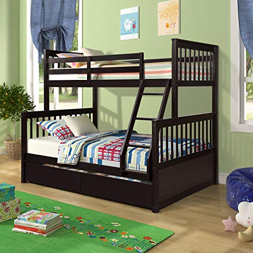Twin-Over-Full Bunk Bed for Kids, Solid Wood bunks beds with Ladders and Two Storage Drawers (Espresso)