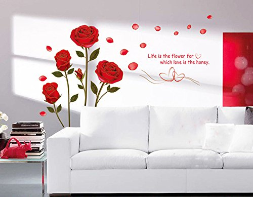 ufengke Rosso Romantico Rosa Fiori Adesivi Murali, Camera da Letto Soggiorno Adesivi da Parete Removibili Stickers Murali Decorazione Murale