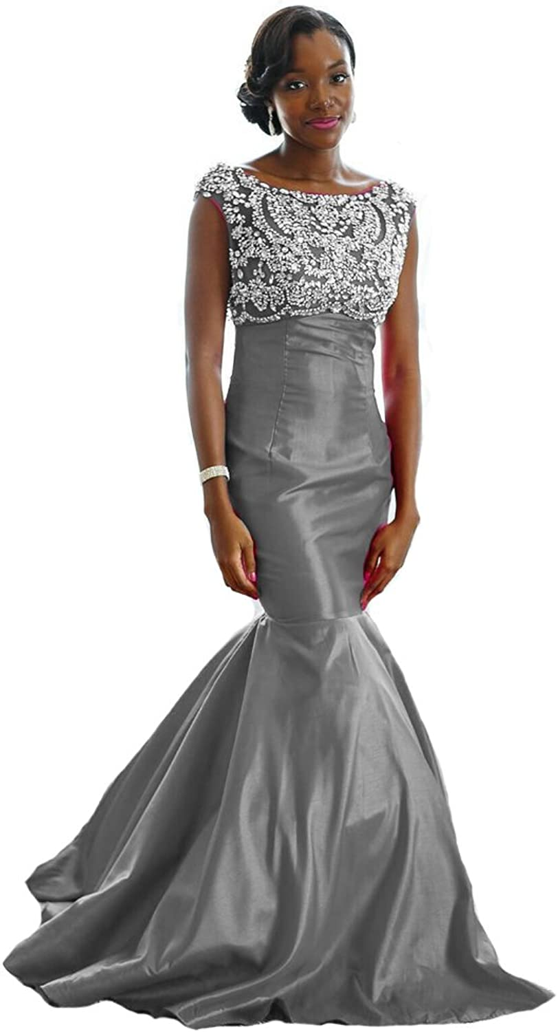 XPLE Fitted Mermaid HandBeaded Couture Evening Gown Plus Size Bridesmaid Dresses D56