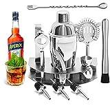 YOMYM Cocktail Shaker Set, 12 Pezzi Kit da, Set Cocktail Professionale, Acciaio Inossidabi...