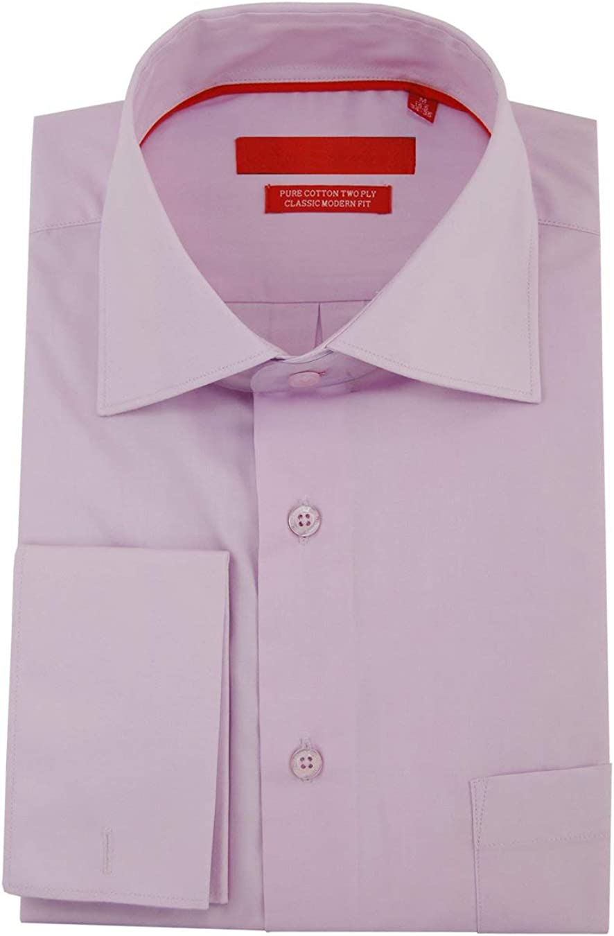 DTI GV Executive Men's Modern Spread Collar French Cuff Cotton Dress Shirt