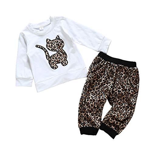 HSKB meisjes lange mouwen kleding katoen borduurwerk luipaarden katten T-shirt trui voor kinderen met tweedelige broekpak