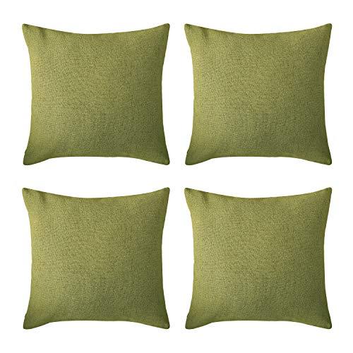 Deconovo Funda de Almohada Cuadrada para Sofá Silla Cama Efecto Lino Decorativo con Cremallera Invisible 45 x 45 cm Juego de 4 Verde Olivo