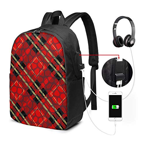 Business Laptop Backpack Scottish Cage Red Celtic Scottish Red Checkered USB Charge for Men Women 17In