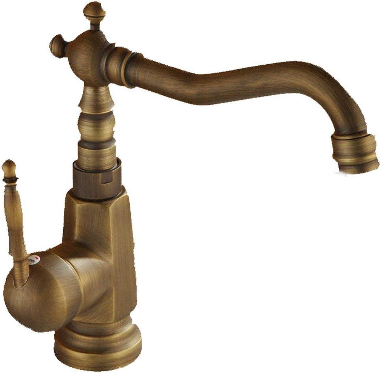 JFFFFWI Gold Tower Wasserhahn Kupfer kann drehen hei und kalt Einlochmontage Badezimmer Waschbecken Retro Aperture 32MM bis 35MM Liuyu installiert Werden.
