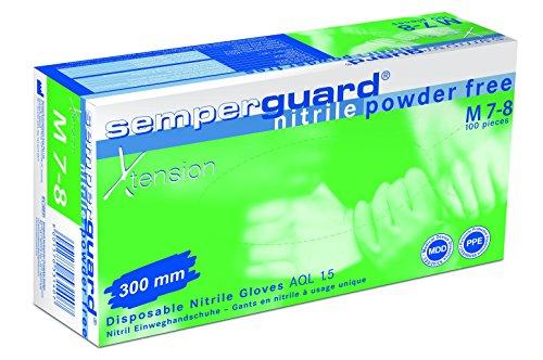 Semperguard 3000004101 Xtension Extra langer Einmalschutz und Untersuchungshandschuh aus Nitrillatex, puderfrei, Größe M, 7-8, Blau (100 er-Pack)