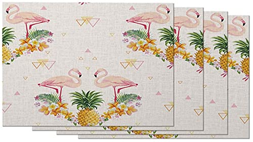 Pineapple and Flamingo Placemats Set of 4 Tropical Flowers Triangle Romantic Pink Yellow Placemats for Dining Table 12X18 Inch Cotton Linen for Home Kitchen