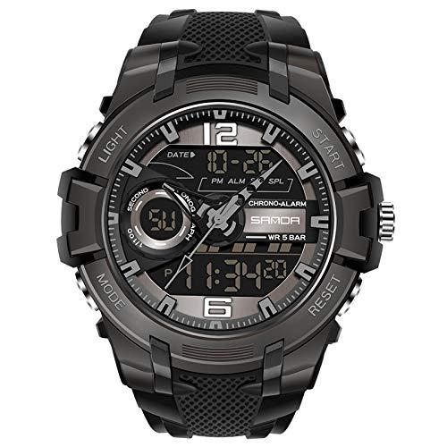 RORIOS Relojes Hombre Cuarzo Digital Relojes Impermeable Deportivo Reloj Multifuncional Reloj de Pulsera con Cronógrafo Luminoso
