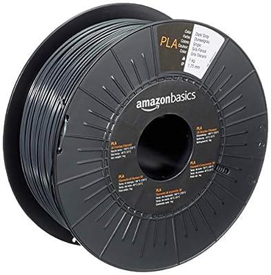 AmazonBasics PLA 3D Printer Filament, 1.75mm, Dark Gray, 1 kg Spool