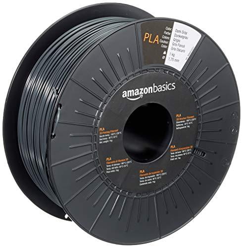AmazonBasics 3D-Drucker-Filament aus PLA-Kunststoff, 1,75 mm, Dunkelgrau, 1-kg-Spule