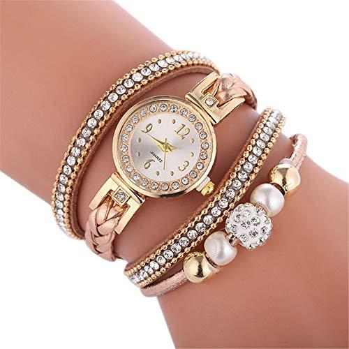 Uhren D249 Woven Verdrehte Perlen Runde analoge Quarz-Handgelenk-Armband-Uhr for Damen (weiß) Asun (Color : Black)