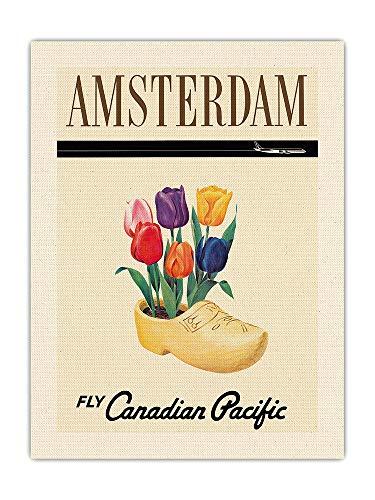 Amsterdam, Holanda - Tulipanes holandeses en un Zueco de Madera - Aerolínea Canadian Pacific - Póster Viaje Línea aérea - Impresión de Arte de Lienzo ORGÁNICO Crudo 46x61cm