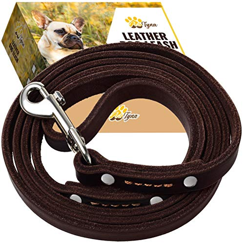 ADITYNA Leather Dog Leash 6 Foot - Soft and Strong Leather Leash for Small and Medium Dog (6 ft x 1/2, Brown)