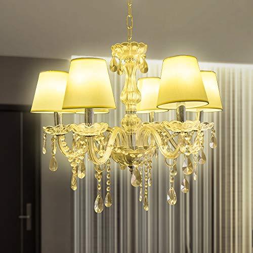 HENGDA Kronleuchter Klar mit 6-flammig - Kristall Hängeleuchte Königlicher Lüster, Ø60 cm, Warmweiß Licht antik Lüster