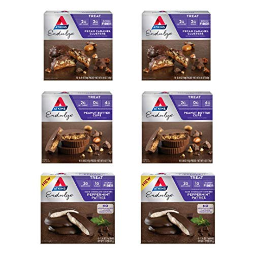 Atkins Endulge Sweet Tooth Variety Pack. Rich and Decadent Dark Peppermint Patties, Peanut Butter Cups & Pecan Caramel Clusters. (2 Boxes Each Flavor, 6 Boxes Total)