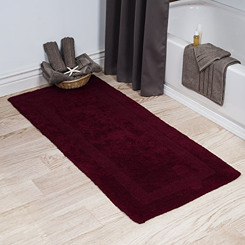 Cotton Bath Mat- Plush 100 Percent Cotton 24x60 Long Bathroom Runner- Reversible, Soft, Absorbent, and Machine Washable Rug by Lavish Home (Burgundy)