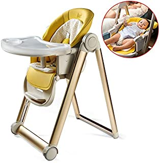 Baby High Chair, Baby Feeding Chair, Portable Foldable Highchair with Adjustable Backrest, Footrest and Seat Height