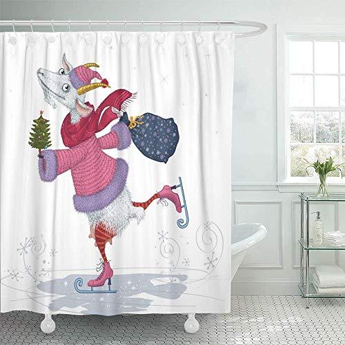 Babydo waterdichte gordijnen, grappige skatertooi bekleed in bontmuts kerstboom wit hotels 183X183cm waterdicht badkamergordijn set thuis met haak patroon decoratieve douchegel