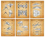 Vintage Star Wars Poster - Figures and Vessels Patent Wall Art Print: Set of 6 8x10 Unframed Photos, Unique Star Wars Decor for Home, Room and Office - Star Wars Gifts for Men, Women and Movie Fans