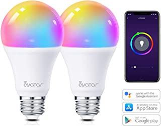 Smart LED Light Bulb, Alexa Light Bulbs WiFi Dimmable 2 Pack Work with Google Home/Smart Life APP, Avatar Controls RGBW Color Changing Lights, No Hub Required (910LM E26 A19 8W=70W Equivalent)