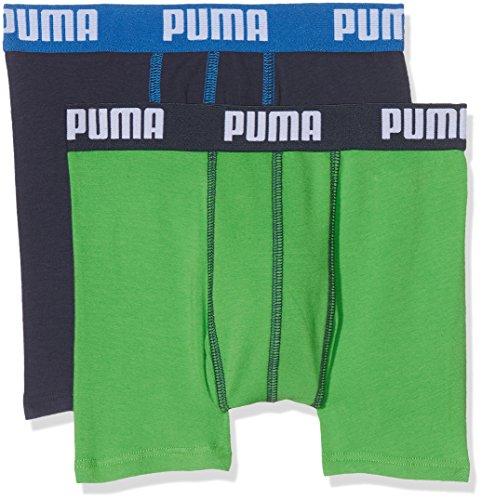PUMA Jungen Basic Boxer 2P Boxershorts, 686 Green/Blue, 128