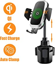 [Upgraded] Cup Holder Phone Mount Wireless Car Charger, NeotrixQI Auto Clamping Qi Fast Charging Adjustable Phone Mount Compatible with iPhone Xs Max/XR/Xs/X/8 Plus,Samsung Galaxy S10 S9 S8 Plus