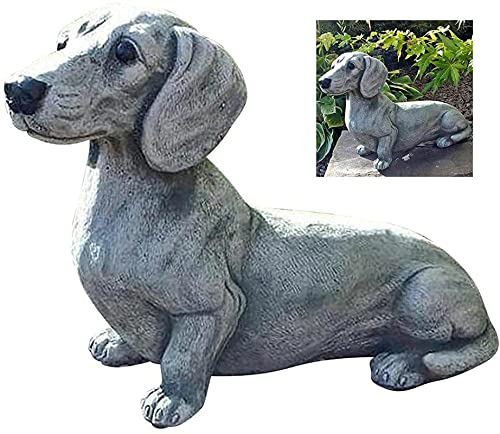 Dachshund Statue Garden Decor,French Bulldog Statue,Memorial Dog Figurines,Garden Ornaments Outdoor,for Dog Lovers, Fantasy Fans, Dog Decorations for The Home, Patio, Lawn, Outdoors Dachshund