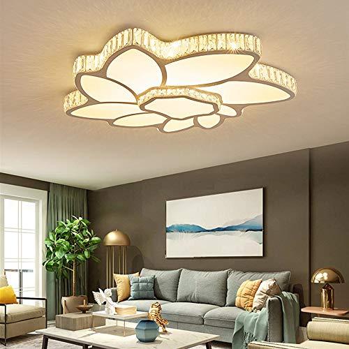 QCSMegy Salón Moderno Simple Lámpara De Techo De Cristal Llevado Delgada Flores Circulares Dormitorio Principal Casa Habitación Sin Escalonamientos Lámpara De Atenuación 60 * 55 * 8cm
