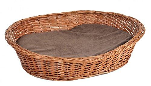 Ruhekorb für kleine Hunde und Katzen - Weidenkorb mit Kissen - Hundekorb Tierkorb Katzenkorb, Größe:Gr.1 52 x 42 x 14 cm