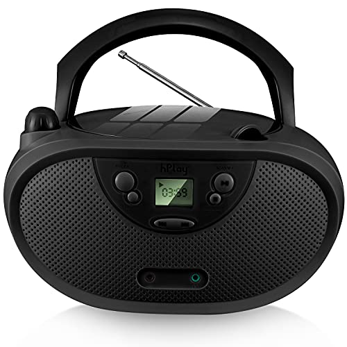 hPlay GC04 Portable CD Player Boombox with AM FM Stereo Radio Kids CD Player LCD Display, Front Aux-in Port and Headphone Jack, Supported AC or Battery Powered- Black
