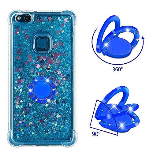 ZCXG Kompatibel Mit Handyhülle Huawei P10 Lite Hülle Silikon Transparent Glitzer Liquid Hülle mit Ring Strass Diamant Slim Stoßfest Kratzfest Flexibles Schutzhülle TPU Bumper Case,Blau