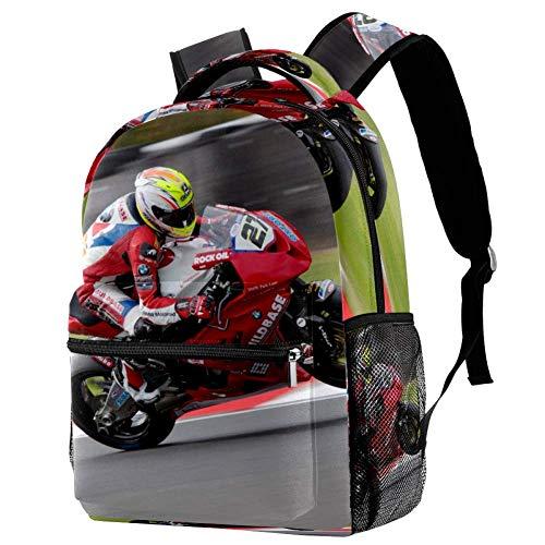 Rucksack Motorrad Motocross Motorrad Schulrucksack Wasserdicht Schultaschen Jungen Teenager Mädchen Kinder Schulranzen School Bag 29.4x20x40cm