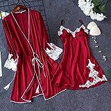 Handaxian Pijama de Seda de Hielo con Mejores Ventas Vestido sin Espalda para Mujer Dos Juegos con Almohadilla para el Pecho