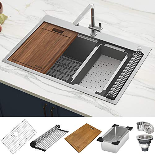Ruvati 33 x 22 inch Workstation Ledge Drop-in Tight Radius 16 Gauge Stainless Steel Kitchen Sink...