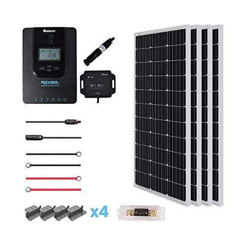 Renogy 400 Watt 12 Volt Premium 4 Pcs 100W Panel+40A MPPT Charge Controller+ Bluetooth Module Fuse+ Mounting Z Brackets+Adaptor Kit +Tray Cables Set, 400W, Grid 12V Solar Power System