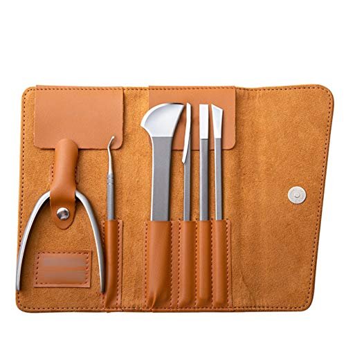 A-myt se ve exquisito y funciona bien Cuchillo de la pedicura de la ranura de las uñas Set de cuchillo de tres personas Técnico profesional Tijeras de uñas Peeling Hogar Fácil de transportar, con toda