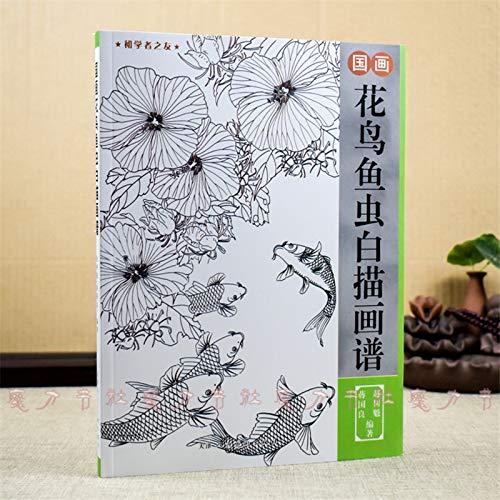 Nieuwe Chinese Schilderij lijn Tekening Boek Kleur Potlood Bloem Vogels en Insect Kleurboek Graveren Patroon voor Beginner