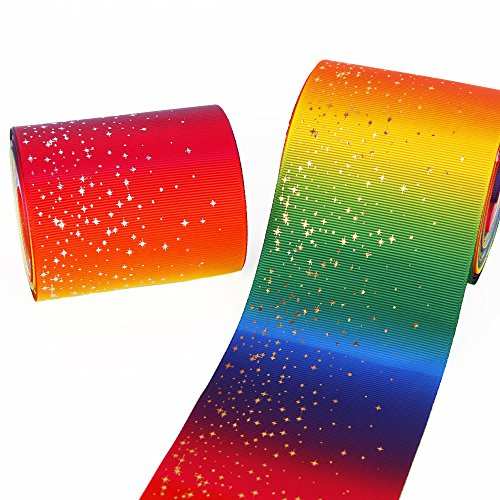 Fashion Rainbow Color Printed Grosgrain Ribbon 3