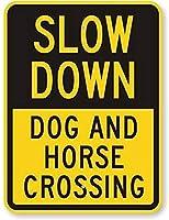 スローダウン-犬と馬の交差点金属錫サイン工業用サイン安全標識