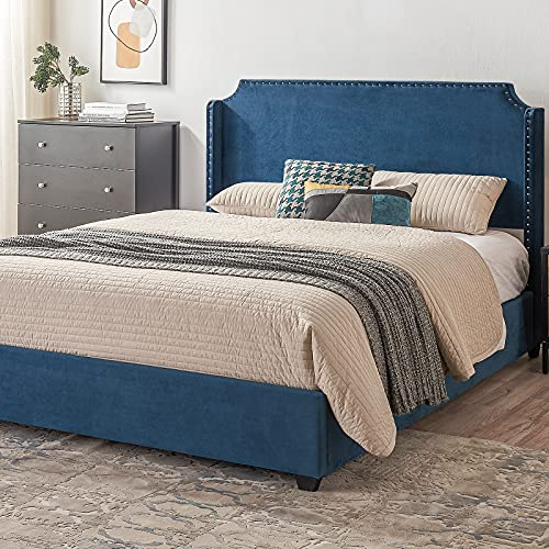 Queen Size Bed Frame Platform Bed Frame in Navy/Lake Blue Velvet with Nailhead Trim, Mattress Foundation with Plush Headboard, Upholstered Modern Bed Frame, No Box Spring Needed