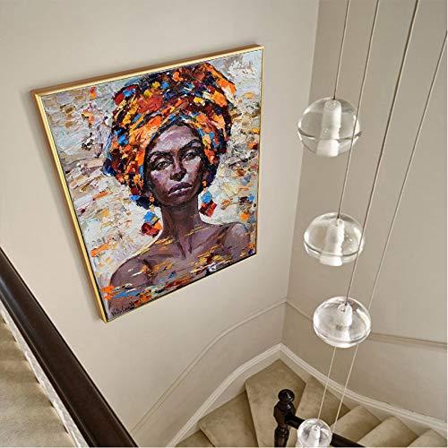 tzxdbh Arte de Pared Retrato Pintura al óleo de Mujer Africana Lienzo Pintura Carteles e Impresiones Modernas decoración del hogar Cuadros en Lienzo Marco 70x90 cm