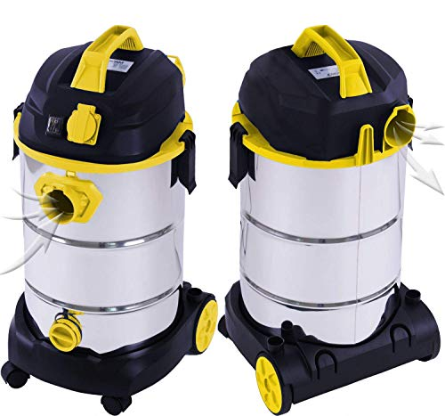 Masko Industriestaubsauger – gelb, 1800Watt ✓ Mit Steckdose ✓ Blasfunktion ✓ GS-Geprüft | Mehrzwecksauger zum Trocken-Saugen & Nass-Saugen | Industrie-Sauger verwendbar mit & ohne Beutel | Wasser-Staubsauger beutellos mit Filterreinigung - 2