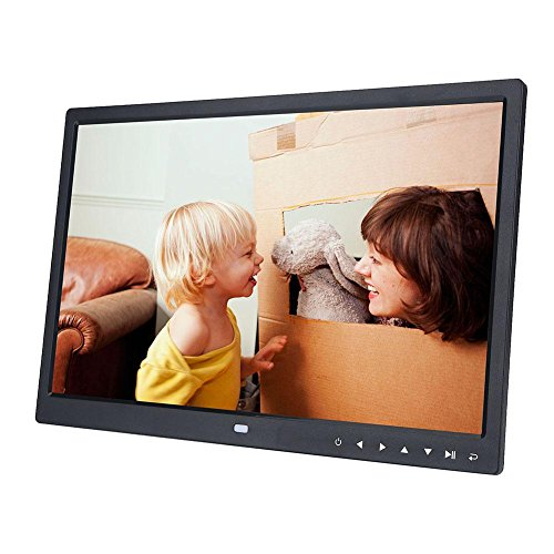 """15\"""" 1280 * 800 HD Digital Bilderrahmen LED Touchscreen-Fotorahmen Unterstützt Bild Musik Videoplayer mit Bewegungssensor und Fernbedienung Unterstützung MP3 Musik E-Book Kalender Wecker(Schwarz)"""