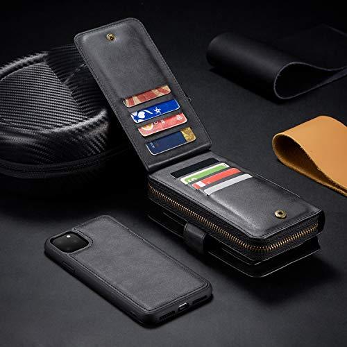 Urvoix voor iPhone 11 Pro Max Case Premium Lederen Portemonnee Handtas Afneembare Magnetische Cover met Koppeling Band Rits Flip Card Houder voor iPhone 11 Pro(5.8-inch Scherm) Telefoonhoesje, Zwart